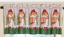 Christmas Holiday Snowmen Trees Checkered Kitchen Bathroom Valance Red Green NEW