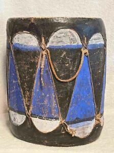 Large ANTIQUE Native COCHITI PUEBLO Painted New Mexico FOLK ART Drum