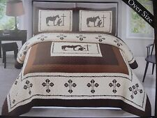 Texas Praying Cowboy Cross Western Quilt Bedspread Comforter 3 Pcs King-Size