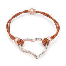 Tan Diamante & Rose Gold Heart Leather Bracelet