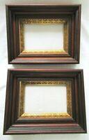 """2 SM Antique Fit 4X6"""" Gold GILT Picture Frames Wood WALNUT Fine Art MINIATURE PR"""