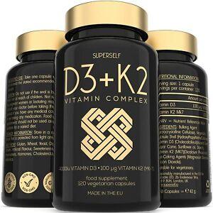 Vitamin D3 K2 Capsules - High Strength Vitamin D Supplement - 120 Vegetarian