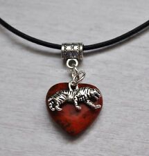 Red Jasper Heart & Tiger Pendant Necklace Animal Wildlife Cat Reki Ladies Gift