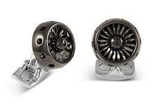 Deakin & Francis Fundamentals Mechanicals Jet Turbine Engine Cufflinks, Black