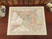 Original 1898 Antique Map MARYLAND DELAWARE Frederick Rockville Dover Wilmington