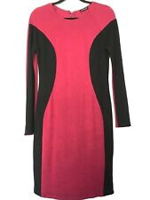 Venus Women's Burgundy & Black Slimming Long Sleeve Knee Length Knit Dress Sz L