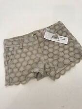 NWT 4 Yr PEEK Aren't You Curious Stone Gidget eyelet shorts tan so pretty! GIRLS