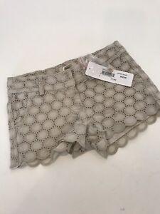 NWT 4 Yr PEEK Aren't You Curious Stone Gidget eyelet shorts tan so pretty! GIRLS
