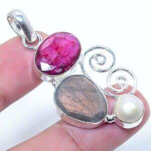 "Kashmir Ruby, Labradorite Gemstone Ethnic Handmade Jewelry Pendant 1.97"" c492"
