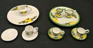 Child's China Tea Set 12 Pieces From 2 Sets White Green Yellow Made in China