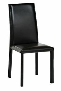 Genuine leather Home Kitchen padded dining chair, set of two Black, fast deliver