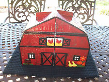 RED BARN FARM KITCHEN COUNTRY HUGE PAINTED CERAMIC COOKIE JAR CANISTER 4 PIECES