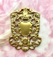 BRASS Ornate HERALDRY CREST SHIELD Angel & Crown Stamping (FA-6072)
