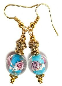 GOLD TURQUOISE PINK EARRINGS short drop dangle chic unique gypsy chic prom style