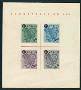 Germany French Occ Baden Stamps 5NB4a var Mi Block 2 II SS NGAI VF 1949 MCV