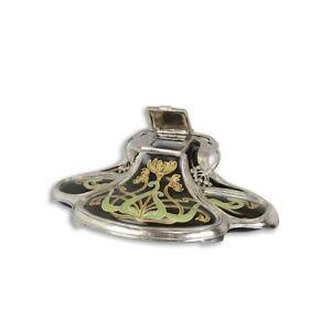 9973740 Schreibgarnitur Calamaio Porzella Argentato Stile Liberty 8x13x22cm