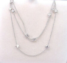 """BEAUTIFUL BEZEL MOUNTED CUBIC ZIRCONIA 14K WHITE GOLD CABLE LINK NECKLACE 16.35"""""""