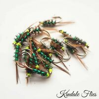Hothead Green Holo Diawl Bach size 12 (Set of 3) Fly Fishing Straight DB