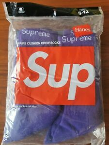 1 Paar x Supreme x Hanes Crew Socken lila