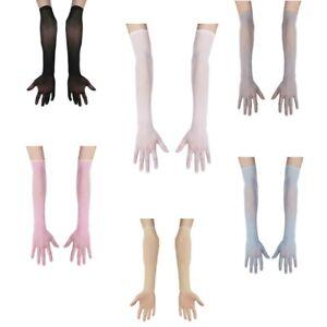 Women Sheer Mesh Full Finger Long Gloves Arm Opera Wedding Bridal Sun Protection