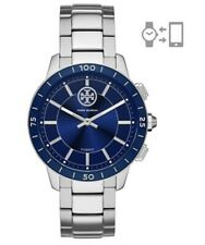 NEW! TORY BURCH COLLINS Silver & Blue Stainless Steel Hybrid Smartwatch TBT1206