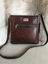 $150 Tignanello Leather Function Frenzy Dark Brown Crossbody ID Protection Bag