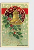 PPC POSTCARD HAPPY CHRISTMAS BELL HOLLY STARS HEYMANN GOLD EMBOSSED