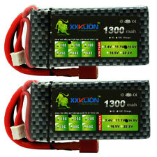 2pcs 1300mAh 14.8V 4S LiPo Battery 25C 50C for RC FPV Drone Helicopter Airplane