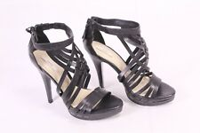 7D Zara Damen Plateau Riemchen Sandaletten Gr. 36 Leder schwarz Stilette-Absatz