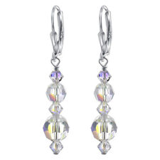Sterling Silver Swarovski Elements Clear Leverback Drop Crystal Earrings GAES035