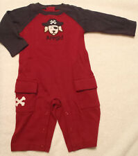 NWT  2 pc Outfit Infant Boy Halloween Themed Sleeper Playsuit Pirate Red Skull