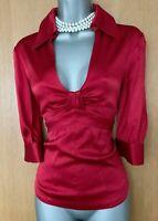 KAREN MILLEN UK 12 Red Stitch Detail Low V Neck 3/4 Sleeve Shirt Top Blouse EU40