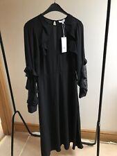 Warehouse Ruffle Lace Insert Midi Black Dress 12 BNWT