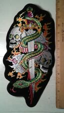 "Snake Sword Skull Large Back Patch Motorcycle Biker Vest Jacket 12"" x 6"""