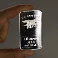 10 Grams .999  U.S Navy SEAL Fine Silver Art Bullion Bar / oz TSB048 1