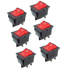 2pcs Red Indicator Light 6 Pin Rocker Switch DPDT On/Off Sales