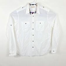 Burberry Brit Womens Cotton Long Sleeve Button Down Polo Shirt White Sz XL 1868