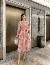 2020 Zimmermann Ladies Sunset Printing V Neck Puff Sleeve Embroidered Maxi Dress