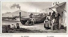 Napoli:Barbiere e Capera.Vesuvio.Audot.Acciaio.Stampa Antica + Passepartout.1835