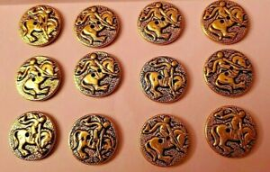 12 Vtg Gold Tone Metal RODEO BUTTONS Horse Riding Western Cowboy BUCKING BRONCO