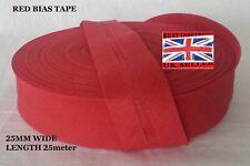 25mm /1 inch RED Cotton Bias Binding Tape Folded Trimming Edging 25 meter roll