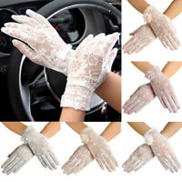 EG_ WOMEN LADY SUMMER ANTI UV SUN PROTECTION DRIVING TOUCH SCREEN LACE GLOVES BL