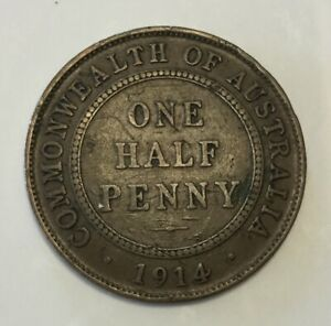 1914 KGV AUSTRALIAN HALFPENNY. A Quality low mintage example, collectible coin.
