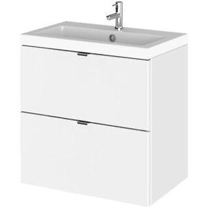 Hudson Reed Fusion Wall Hung 2-Drawer Vanity Unit Basin 500mm Gloss White