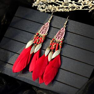 Vintage Boho Fringe Tassel Leaf Feather Dream Catcher Drop Dangle Women Earrings