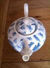 PORTMEIRION BOTANIC BLUE FLORAL AND BUTTERFLIES TEA POT