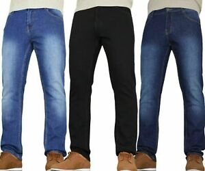 Mens Basic Stretch Jeans Straight Leg Work Denim Regular Big Tall Waists New