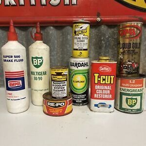 Lot Of 9 Vintage Polish Oil & Grease Tins Ampol BP Re-Po Bars Carplan GPA etc...