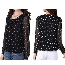 Women Polka Dot Chiffon Long Sleeve Pullover T-Shirt Tops Blouses Elegant