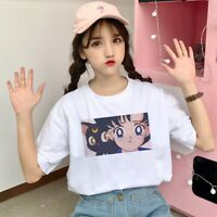 Cute White T-Shirt For Girl Women Sailor Moon Cat Printed Harajuku Tee Shirt